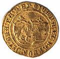 Doble ducado de Juana y Carlos con las armas de Aragón (anverso).jpg