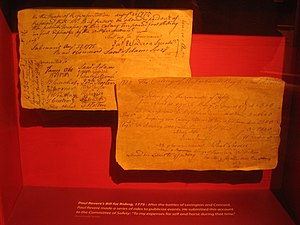 Massachusetts Archives - Paul Revere's bill for riding, 1775