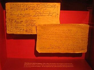 Massachusetts Archives - Paul Revere's bill for riding, 1775