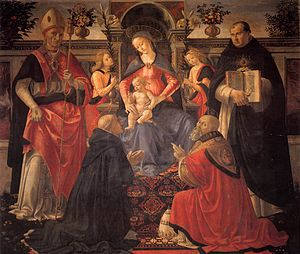 Domenico Ghirlandaio Madonna and Child enthroned between Angels and Saint c 1486.jpg