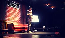 Donovan Strain performing stand-up at Flappers Comedy Club in Burbank, CA 2013.jpg