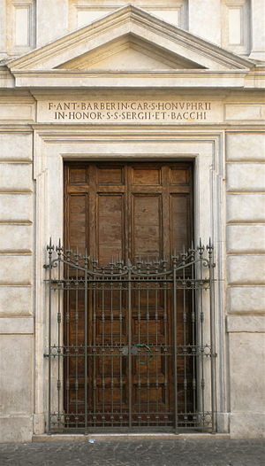 Santi Sergio e Bacco - Early 17th century doorway.
