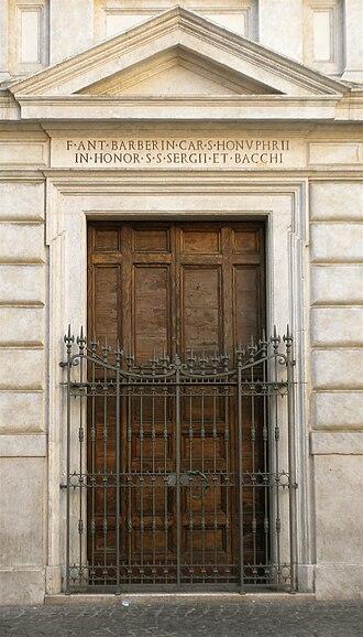 Santi Sergio e Bacco - Early 17th century doorway.