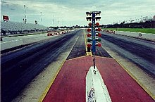 Dragstrip wikipedia looking down a drag strip note the christmas tree countdown lights in the center aloadofball Image collections
