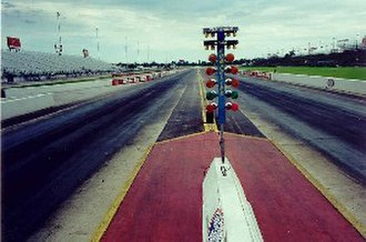 Dragstrip - Looking down a drag strip. Note the Christmas tree countdown lights in the center