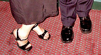 Dress shoe - Dress shoes on a woman (left) and a man. (right)