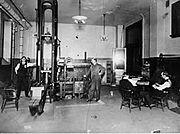A machine testing laboratory at Drexel University, circa 1904.