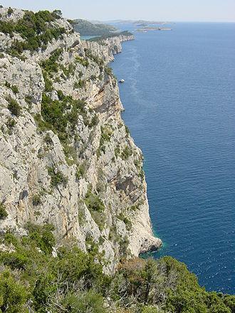 Steep coast - View of the steep coast on the island of Dugi Otok in Croatia