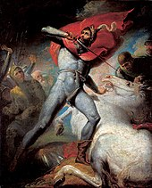 A man in skin-tight clothing looks to the sky; his left hand holds down a white horse, and in his right a sword poised to pierce the horse's neck. Several armoured figures in the background look at the man and his horse.