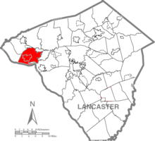 Map of Lancaster County, Pennsylvania highlighting East Donegal Township