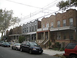 Typical multi-unit semi-detached rowhouses in East New York