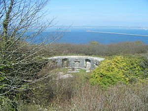 East Weare Battery - Position for Rifled Muzzle Loading (RML) gun at East Weare Gun Battery E Portland