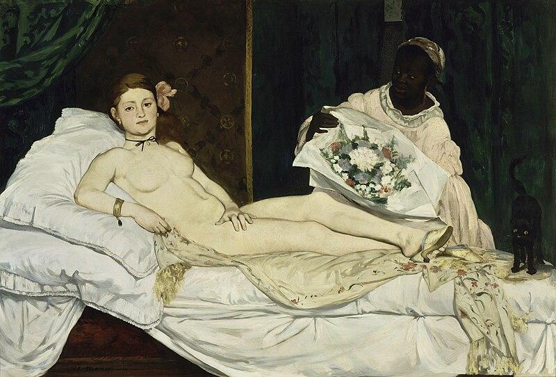 Olympia de Edouard Manet , 1863, Édouard Manet [Public domain] via Wikimedia Commons