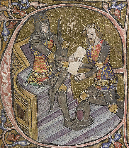 "Edward, the Black Prince, is granted Aquitaine by his father King Edward III. Initial letter ""E"" of miniature, 1390; British Library, shelfmark: Cotton MS Nero D VI, f.31. Edward III Black Prince 14thc.jpg"