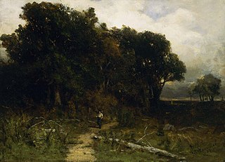 Untitled (landscape, woodcutter on path)