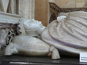 Archducal hat - Margaret of Austria wearing her hat on her tomb by Conrad Meit