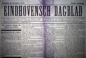 Eindhovens Dagblad - Image: Eindhovensdagblad 23 12 1911 eerste jaargang nr 1 gr