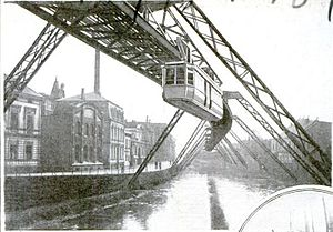 Elberfeld - The suspension railway of Elberfeld was built over the canal in order to keep the streets unobstructed