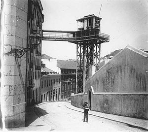 Municipal Library Elevator Coup - The Municipal Elevator, also referred to as the Library Elevator as seen from the Calçada de São Francisco