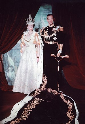 Coronation gown of Queen Elizabeth II - Image: Elizabeth and Philip 1953