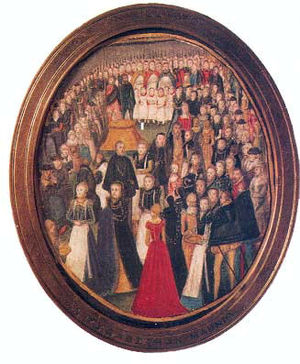 Levina Teerlinc - An Elizabethan Maundy, miniature by Levina Teerlinc, c. 1560