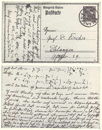 Commutative algebra - A 1915 postcard from one of the pioneers of commutative algebra, Emmy Noether, to E. Fischer, discussing her work in commutative algebra.