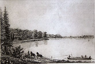 Lake Esrum - Transportation of firewood along the western shore of Lake Esrum in about 1830