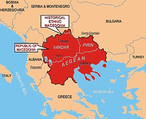 "United Macedonia - The region of Macedonia as perceived by ethnic Macedonian irredentists. Some Macedonian nationalists, including at official level have expressed irredentist claims to what they refer to as ""Aegean Macedonia"" (Greece), ""Pirin Macedonia"" (Bulgaria), ""Mala Prespa and Golo Brdo"" (Albania), and ""Gora and Prohor Pchinski"" (Serbia)."