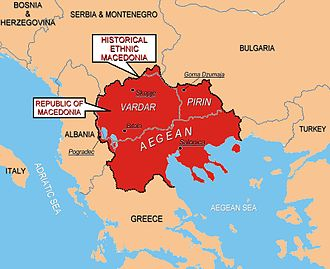 "Macedonia naming dispute - The region of Macedonia as perceived by ethnic Macedonian irredentists. Some ethnic Macedonian nationalists, including some at official levels, have expressed irredentist claims to what they refer to as ""Aegean Macedonia"" (Greece), ""Pirin Macedonia"" (Bulgaria), ""Mala Prespa and Golo Brdo"" (Albania), and ""Gora and Prohor Pchinski"" (Serbia) despite the fact that ethnic Greeks, Bulgarians, Albanians and Serbs form the majority of the population of each region respectively."