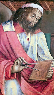 """""""Depiction of Euclid as a bearded man holding a pair of dividers to a tablet."""""""