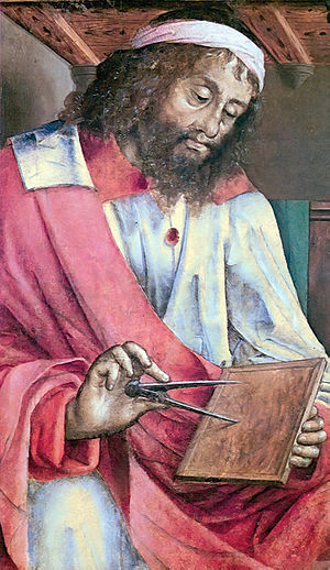 """Depiction of Euclid as a bearded man holding a pair of dividers to a tablet."""