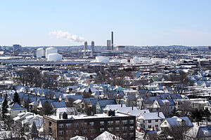 Everett, Massachusetts - Everett in winter as viewed from the Whidden Hospital in 2007.