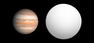 COROT-5b - Size comparison of COROT-5b with Jupiter.