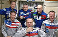 Expedition 37 crew in the Zvezda service module.jpg