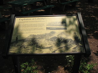 Black Tom explosion - Image: Explosion At Liberty Plaque