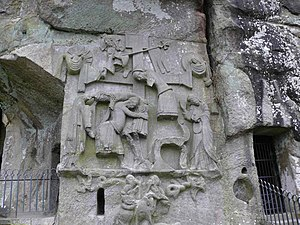 Irminsul - On the Externsteine Descent from the Cross relief, the bent structure in the right centre is popularly identified as Irminsul. Though this may be correct, it is not supported by any contemporary sources.