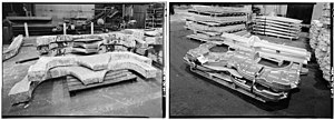 Heavy Press Program - Titanium bulkheads for the F15 jet fighter before and after pressing by the Alcoa 50,000 ton press