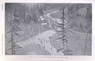 Little White Salmon River - Fish hatchery and log flume, 1898