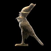 Falcon god wearing an Egyptian crown-AO 11599