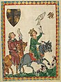 Falconry hunt of Frederick and King Conradin, from Codex Manesse, 1305-15 (42454910105).jpg