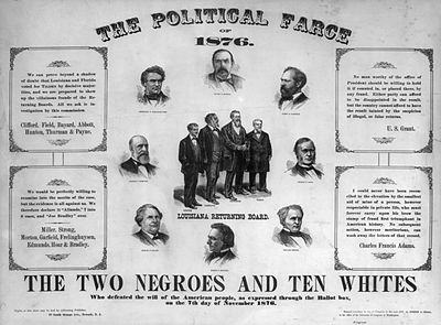 The election was hotly contested, as can be seen by this poster published in 1877.
