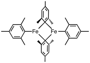 Organoiron chemistry - Tetramesityldiiron is a rare example of a neutral per-organo complex of iron.