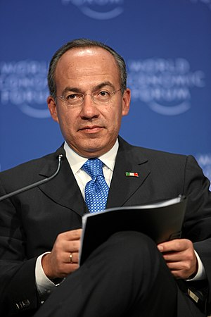 Felipe Calderón, President, talked at the Worl...