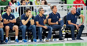 Fenerbahçe Men's Basketball - Fenerbahçe coaches, from left: İlker Belgutay (Athletic trainer), Erdem Can (Assistant coach), Josep Maria Izquierdo (Assistant coach), Vladimir Androić (Assistant coach) and Željko Obradović (Head coach), September 2017