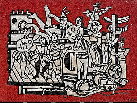 Fernand Leger - Grand parade with red background, mosaic 1958 (designed 1953). National Gallery of Victoria (NGV), Australia Fernand Leger - Grand parade with red background (mosaic) 1958 made.jpg