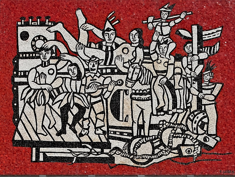 Fernand Léger - Grand parade with red background (mosaic) 1958 made