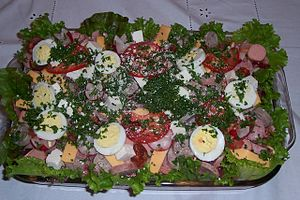 Guatemalan cuisine - Fiambre is a traditional food from Guatemala eaten on November 1 and 2. Guatemala, like many other Catholic countries, celebrates the Day of the Dead (Día de los Muertos) and the All Saints Day (Día de los Santos). It's a chilled salad that may be made from over 50 ingredients.