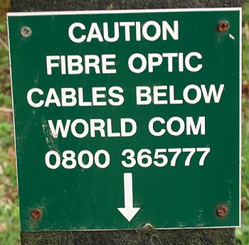 English: Fibre Optic cables sign at Exe Water ...