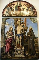 Saint Sebastian with Madonna and child