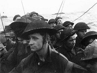 Sword Beach - Film still from the D-Day landings showing commandos aboard a landing craft on their approach to Sword, 6 June 1944.